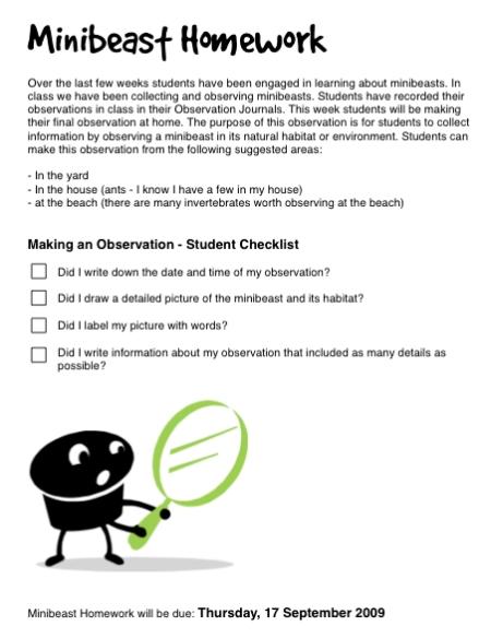 minibeast homework